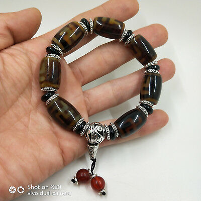 China's Tibet old agate chakra agate Day bead bracelet WithTibetan silver#0001