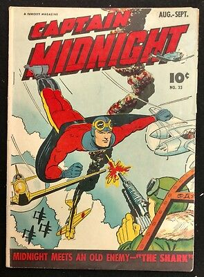 Captain Midnight #33 Solid Vg Minus 1945 Ikky Solo Action+ Ivan Shark More
