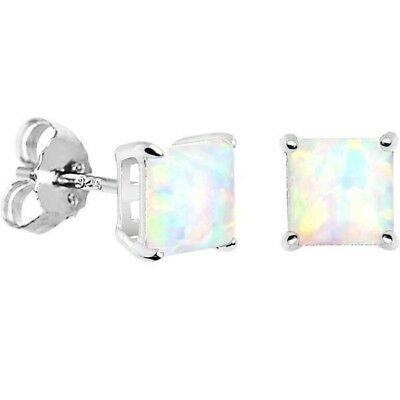 925 Sterling Silver Fire Opal Stud Earrings -Perfect For Day To Night! Free Ship
