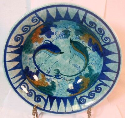 Vtg Signed Ceramic DOLPHIN Fish Dish Hanging Art Hand Made TERRA CHROMA