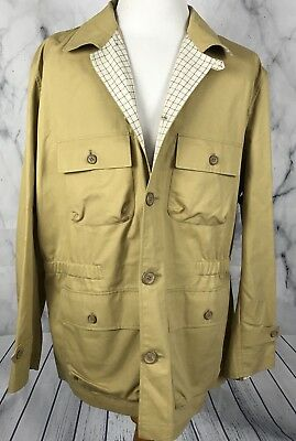 BARBOUR Men's Khaki Casual Safari Military Cargo Field Hunting Jacket XXL
