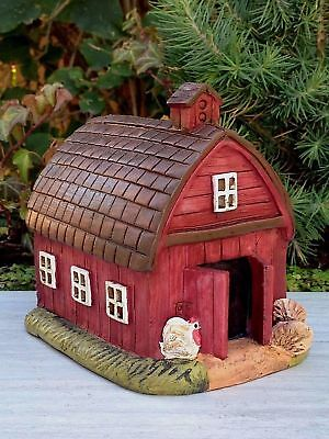 My Fairy Gardens Miniature - Mini Red FARM Barn House - Mini Dollhouse Supply...
