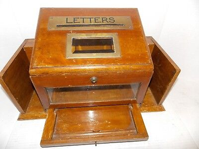 Antique Hotel Wood Mail & Telegram Box. Old, Bevelled Glass, Very Nice