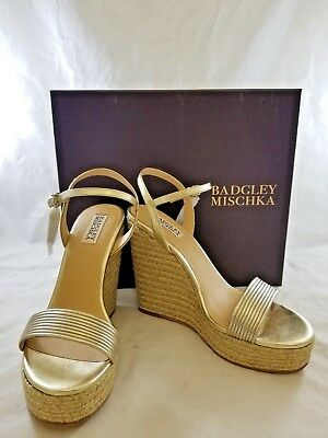 9bb4f7e5dad Badgley Mischka MP3659 Women's Trace Espadrille Wedge Sandal Platino Color  Size