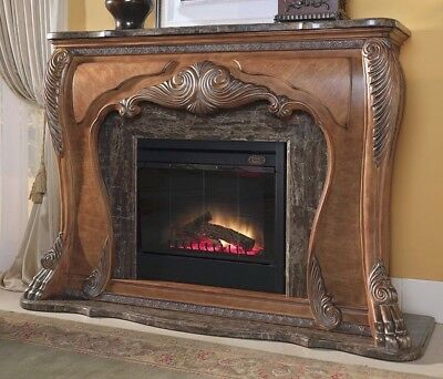 Huge Marble & Carved Wood Aico Eden Lion Paws Electric Fireplace (You Pick Up)