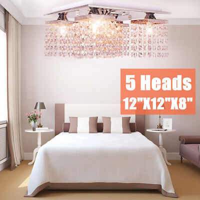 Elegant Modern Ceiling Light Crystal Chandelier Pendant Lighting Fixture 5Lamp B