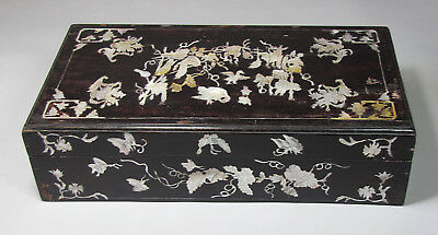 A Fine Korean/Chinese Mother of Pearl Inlaid Black Lacquered Box: 19th C.