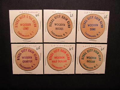 (6) 1965 Lackawanna, New York Wooden Nickel Tokens - Steel City Coin Club Tokens