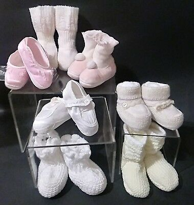 Vintage Large Doll Baby Shoe Lot Booties Slippers Socks Knit Satin Japan 7 Pair