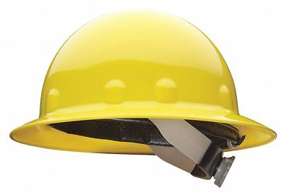 Full Brim Hard Hat, 8 pt. Ratchet Suspension, Yellow, Hat Size: 6-5/8 to 7-3/4