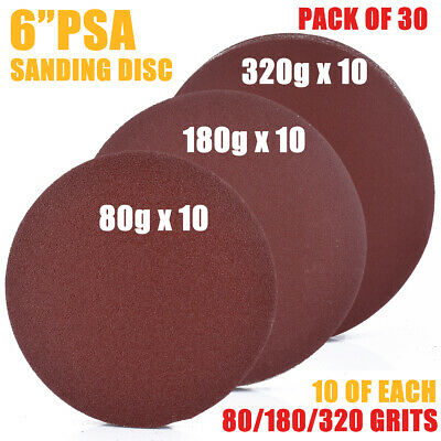 "30PCS 6"" Self Adhesive 80/180/320 Grit Sanding Disc Stick On Sandpaper Peel"