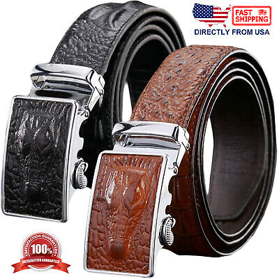 Men's Genuine Leather Alligator Embossed Exact Fit Automatic Buckle Ratchet Belt