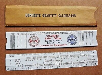 Vintage Concrete Slide Rule 100 YDS Volume Calculator OLYMPIC CEMENT CO. SEATTLE