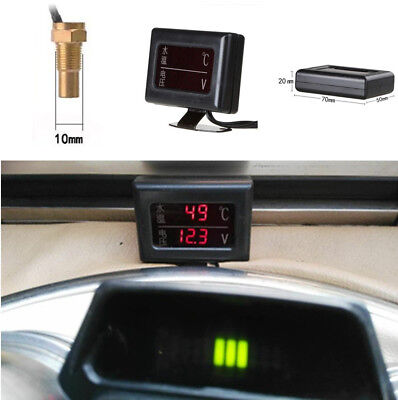 Voltage Gauge + Water Temperature Thermometer Sensor LCD Screen Car Accesssory