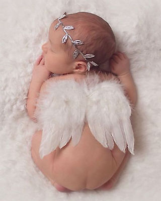 Baby Photography Props Newborn Baptism Photo Decor Angel Wings Leaf Headband