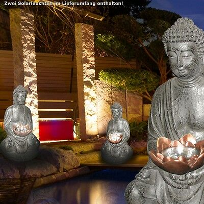 Set of 2 LED Outdoor Solar Lights Figure Stone Design Balcony Courtyard DXH