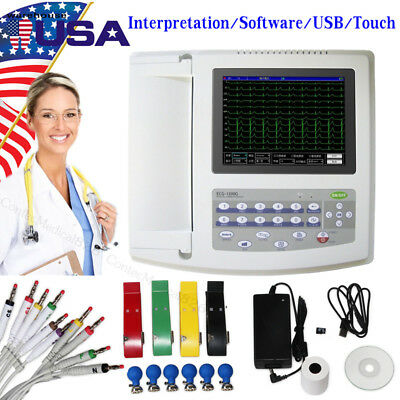 12 Channel EKG Monitor Electrocardiograph Touch ECG Machine+Interpretation,SW,CE