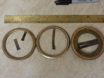 3 Antique French Clock Open Faced Ornate Bezels