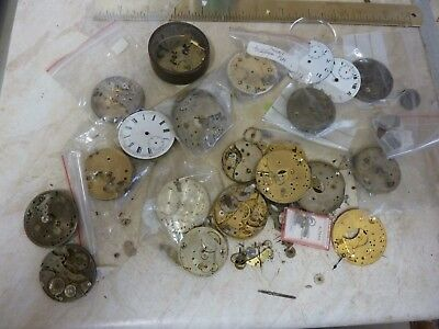 Lot Pocketwatch Movement Parts Etc,,
