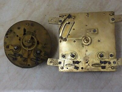 2 ANTIQUE FRENCH CLOCK MOVEMENTS for SPARES OR REPAIR