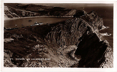 """Paddle Steamer """"Consul"""" in Lulworth Cove, sepia RP postcard, unposted"""