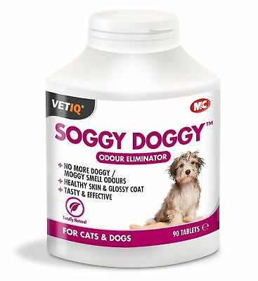 VetIQ Soggy Doggy 90 Tablets - Dog & Cat Odour Eliminator Clean & Glossy Coat