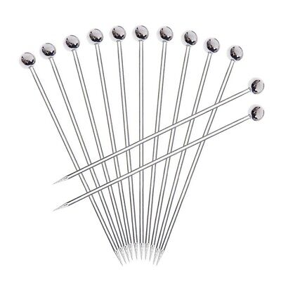 12pcs Stainless steel Cocktail Picks, Professional 4 inch Fruit Stick Toothpi G2