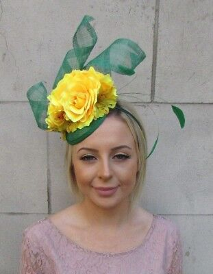 Emerald Green Yellow Rose Flower Feather Hat Fascinator Races Wedding Hair 5938