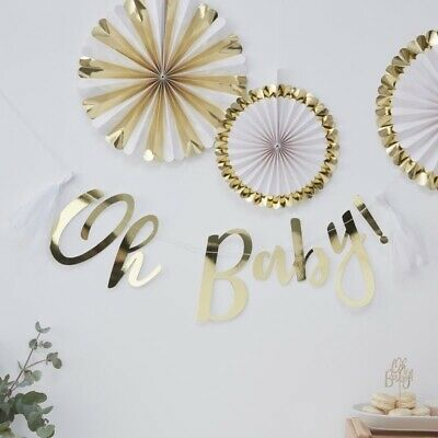 Gold Foiled Oh Baby! Bunting - Oh Baby!  Baby Shower Party Decorations