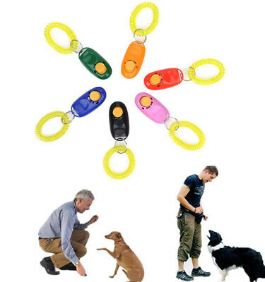 Pet Dog Button Click Clicker Trainer Training Agility Obedience Aid Wrist Strap
