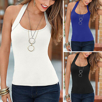 Womens Summer Halter Neck Vest Sleeveless Ladies Blouse Casual Tank Top T-Shirt