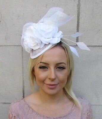 White Sinamay Rose Flower Feather Pillbox Hat Fascinator Races Hair Wedding 5944