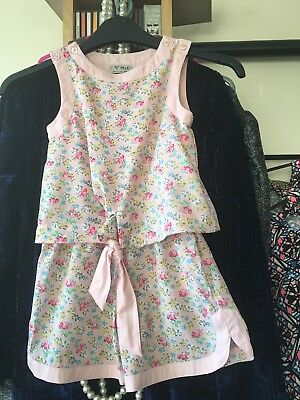 Girls Playsuit Age 4 Years Pink Mix Floral Pattern, Sleeveless, Next Brand