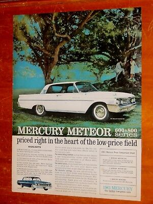 White 1961 Mercury Meteor 800 Coupe 11 X 14 Inch Ad + Vintage 60S American