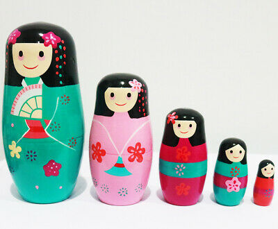 NEW 5pcs/set Matryoshka JAPAN Nesting Dolls Babushka Wooden GIFT BLACK PINK