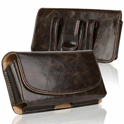 Leather Holster Belt Clip Case Pouch Cover For iPhone Samsung Large Cell Phone