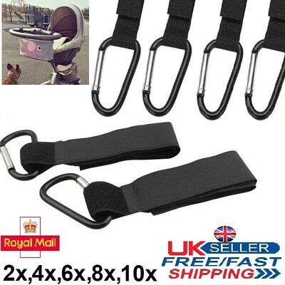 2x - 10x Buggy Hooks Clips Large Pram Pushchair Shopping Mummy Carry Bag Clip UK