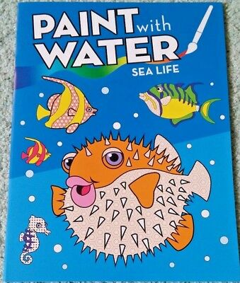 NEW PAINT WITH Water Coloring Book Ocean Sea Life Animals No Mess ...