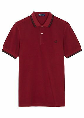 Fred Perry Men's Twin Tipped Polo Shirt M3600,Claret,New Mod,Soul,Ska, Scooter,