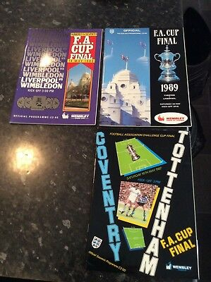 3 Fa Cup Finals 1987, 1988, 1989 Everton, Liverpool, Wimbledon, Coventry, Spurs