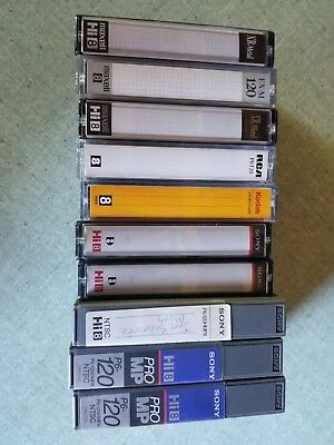 LOT OF 10 USED 8MM 120 MINUTE CAMCORDER VIDEO TAPES Various + 3 Extra Cases