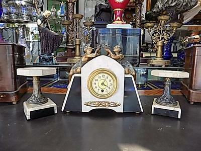 Original French Art Deco Marble Mantleclock Set With Garnitures And Bronze Maids