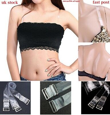 Adjustable Detachable Transparent Clear Silicon Invisible Bra Straps Metal Hook