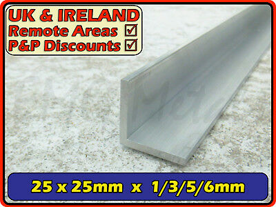 "Aluminium Angle (L section, edging, bracket, ally, alloy, trim) | 25x25mm (1"")"