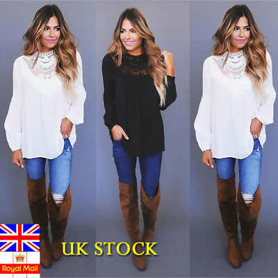 Plus Size Womens Lace Long Sleeve Blouse Holiday Loose Mesh Top Formal Office Ol