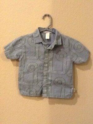 Janie And Jack Baby Boy Cotton Short Sleeve Button Up Dress Shirt 18-24 Months