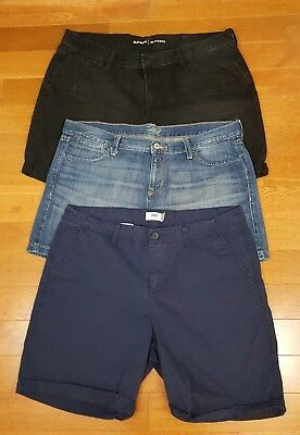 Old Navy Lot 3 Black Blue Denim Navy Blue Boyfriend Flirt Cuffed Shorts Sz 14
