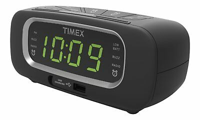 Timex T2351B FM Dual Alarm Clock Radio with USB Charging Port Digital Tuning Lar