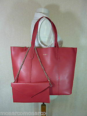 eb08f340a NWT Furla Ruby Red Pebbled Leather Large Elle Tote Bag $298 - 3 DAYS SUMMER  SALE