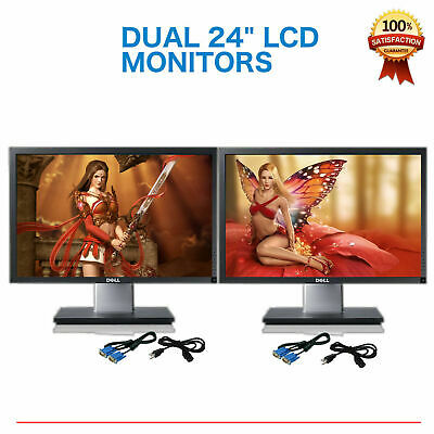 """Matching DUAL LARGE DELL Ultrasharp 24"""" Widescreen LCD Monitors w/ cables Gaming"""